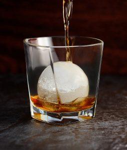 glass tumbler with iceball